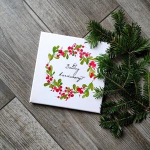 Boldog karácsonyt vászonkép, Karácsonyi képeslap, Karácsony & Mikulás, Otthon & Lakás, Fotó, grafika, rajz, illusztráció, Festészet, A kép jó minőségű, keretre feszített vászonra készül, mely közvetlenül falra akasztható. A mintát ké..., Meska