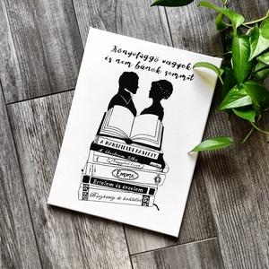 Jane Austen könyvek vászonkép, Kép & Falikép, Dekoráció, Otthon & Lakás, Fotó, grafika, rajz, illusztráció, Festészet, A kép jó minőségű, keretre feszített vászonra készül, mely közvetlenül falra akasztható. A mintát ké..., Meska