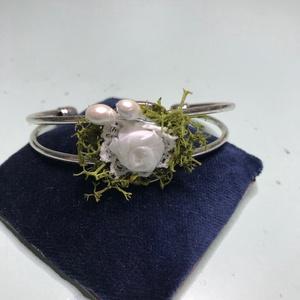 Esküvői karkötő és gyűrű, Ékszer, Ékszerszett, A karkötő és a gyűrű jól illik a boltban található hajpánthoz, és a vőlegénynek való hajtóka díszhez..., Meska