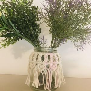 Makramé váza/mécses tartó, Otthon & Lakás, Dekoráció, Váza, Csomózás, Egyedi, kézzel csomózott váza vagy használható akár gyertyatartóként is, \nújrahasznosított pamutfona..., Meska