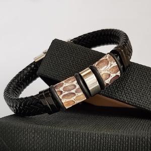 Drapp kígyómintás férfi  bőr karkötő (Denera) - Meska.hu