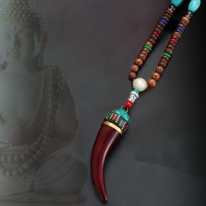 Mala kürt nyaklánc, Medálos nyaklánc, Nyaklánc, Ékszer, Bőrművesség, Ékszerkészítés, Tibeti 108 szemből készült Mala.\nA buddhisták szerint elűzi a gonosz szellemeket,jó szerencsét,boldo..., Meska