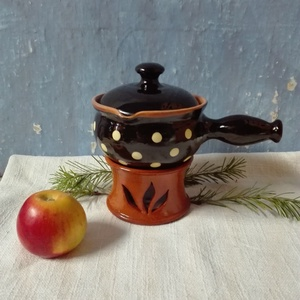 alma sütő nagy pöttyös, Otthon & Lakás, Konyhafelszerelés, Sütő- és főzőedény, Kerámia, Mindenmás, Alma sütő illat aroma edény , amiben akár csoki vagy sajt fondűt is készíthetünk Kézzel korongozott,..., Meska