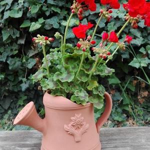 Locsoló formájú virágcserép, Otthon & lakás, Lakberendezés, Dekoráció, Kerti dísz, Kaspó, virágtartó, váza, korsó, cserép, Kerámia, Vörösre égő agyagból készült  virágtartó edény. Méretei: 16cm magas, az átmérője 11cm.\nA virág csak ..., Meska