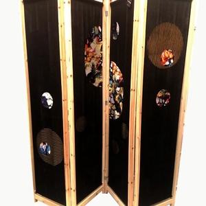 Paraván, Otthon & lakás, Bútor, Dekoráció, Lakberendezés, Foltberakás, egyedi kézműves dizájnnal készült paraván\nfa keret, textil belső\n\n170x160cm, Meska