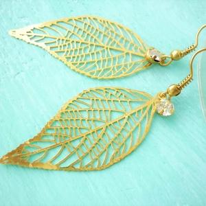 Golden leaf  - arany levél fülbevaló, Ékszer, Fülbevaló, Lógó fülbevaló, Ékszerkészítés, Meska