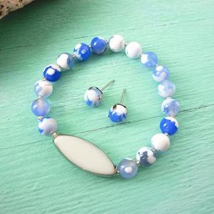 Porcelán  - kék-fehér achát gyöngy karkötős szett, Ékszer, Ékszerszett, Ékszerkészítés, Meska
