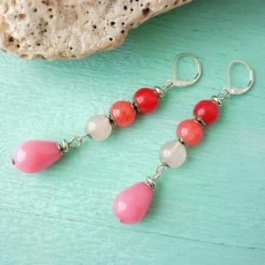 Pink ombre  - hosszú ásvány fülbevaló, Ékszer, Fülbevaló, Lógó csepp fülbevaló, Ékszerkészítés, Piros és rózsaszín ásványokból raktam össze ezt a színátmenetes fülbevalót. Legfölül piros perzsa ja..., Meska