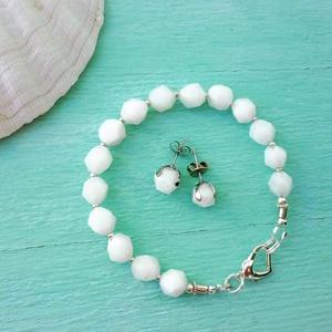 White jade diamant - fehér jade ásvány karkötő/fülbevaló szett, Ékszer, Ékszerszett, Ékszerkészítés, Meska