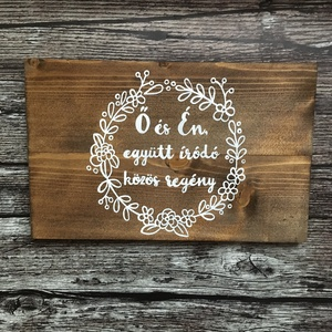 Kézzel festett, natúr deszkakép esküvőre, Tábla & Jelzés, Dekoráció, Esküvő, , Vintage esküvőt tervezel? Vagy csak megörökítenéd kedvenc versedet egy fatáblára festve? Akkor jó he..., Meska