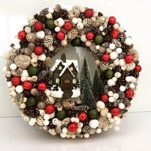 Karácsonyi  kopogtató, Otthon & lakás, Lakberendezés, Asztaldísz, Virágkötés, Az ajtódíszt a natúr termések és 1-2 színes termések teszik gyönyörűvé.Az ajtódíszt 25 cm alapra épí..., Meska
