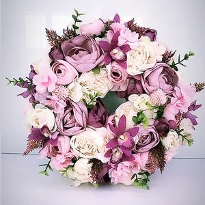 Tavaszi  kopogtató, Otthon & Lakás, Dekoráció, Ajtódísz & Kopogtató, Virágkötés, Az ajtódíszre  rengeteg gyönyörű virág tettem.\n20 alapon így megépítve majdnem 30 cm . \nA postakölts..., Meska
