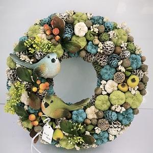 Nyári kopogtató, Otthon & lakás, Lakberendezés, Asztaldísz, Virágkötés, Az ajtódíszt a natúr termések és 1-2 színes termések teszik gyönyörűvé.Az ajtódíszt 20 cm alapra épí..., Meska