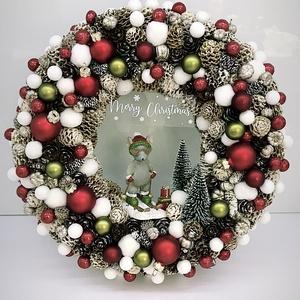 Karácsonyi Kopogtató , Asztaldísz, Dekoráció, Otthon & Lakás, Virágkötés, \nAz ajtódíszt a natúr termések és 1-2 színes termések teszik gyönyörűvé.Az ajtódíszt 20 cm alapra ép..., Meska