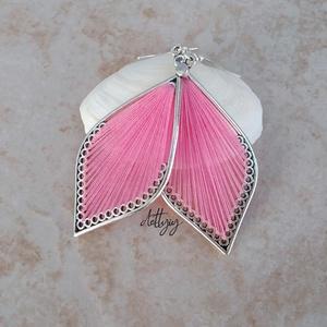 """Fonal fülbevaló - Teli (rózsaszín), Ékszer, Fülbevaló, Ékszerkészítés, Levél alakú fonal fülbevalóim \""""teli\"""" változata, rózsaszín színben. A fülbevalók kézzel készültek, fé..., Meska"""