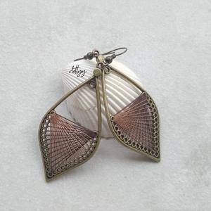 Fonal fülbevaló - Ombre (barna), Ékszer, Fülbevaló, Lógó csepp fülbevaló, Ékszerkészítés, Meska
