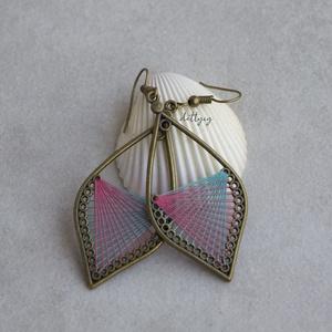 Fonal fülbevaló - Ombre (rózsaszín-kékeszöld), Ékszer, Fülbevaló, Lógó csepp fülbevaló, Ékszerkészítés, Meska