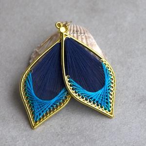 Fonal fülbevaló - Klasszikus (kék), Ékszer, Fülbevaló, Lógó csepp fülbevaló, Ékszerkészítés, Meska