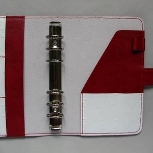 Piros fehér bőr gyűrűs határidőnapló, kalendárium mappa (Dettymoon) - Meska.hu