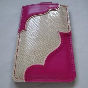 Rózsaszín és mintás törtfehér bőr telefontok, mobiltok (Dettymoon) - Meska.hu