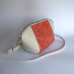 Törtfehér, hüllő mintás rózsaszín bőr táska - táska & tok - kézitáska & válltáska - válltáska - Meska.hu