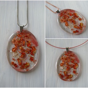 Áttetsző rose gold gyanta medál, nyaklánc gyanta ékszer - ékszer - nyaklánc - medálos nyaklánc - Meska.hu