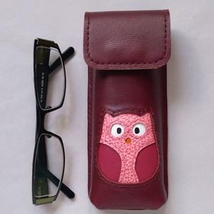 Bordó rózsaszín mályva  bagoly mintás bőr tolltartó, szemüvegtok, Táska, Divat & Szépség, Táska, Pénztárca, tok, tárca, Szemüvegtartó, Bőrművesség, Felnőtteknek és gyerekeknek is szívesen ajánlom egyaránt.\nBelső mérete: 15 x 5,5 x 2 ~ 2,5 cm. Kb 10..., Meska