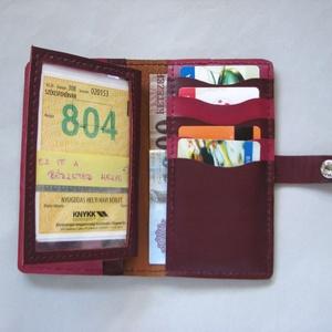 Bordó szitakötő mintás kártyatartós bőr pénztárca, irattartó tárca - táska & tok - pénztárca & más tok - pénztárca - Meska.hu