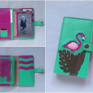 Zöld flamingó mintás kártyatartós bőr pénztárca, irattartó tárca, Táska, Táska, Divat & Szépség, Pénztárca, tok, tárca, Pénztárca, Bőrművesség, Trópusi hangulatot idéző, vidám flamingó madaras és levél mintás bőr kártyatartós tárca. Kis mérete ..., Meska