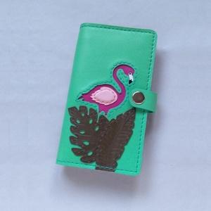 Zöld flamingó mintás kártyatartós bőr pénztárca, irattartó tárca - Meska.hu