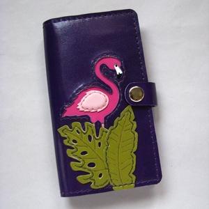 Lila flamingó mintás kártyatartós bőr pénztárca, irattartó tárca, Táska, Táska, Divat & Szépség, Pénztárca, tok, tárca, Pénztárca, Bőrművesség, Trópusi hangulatot idéző, vidám flamingó madaras és levél mintás bőr kártyatartós tárca. Kis mérete ..., Meska