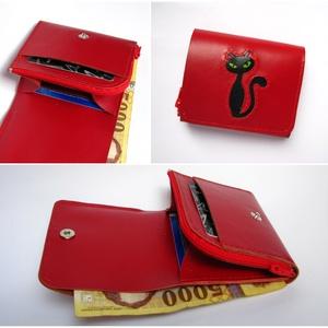 Piros fekete cica mintás bőr pénztárca, Táska & Tok, Pénztárca & Más tok, Pénztárca, Bőrművesség, Meska