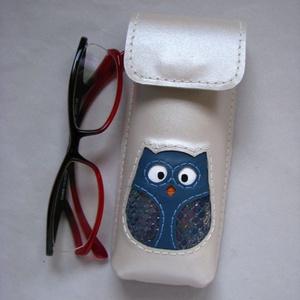Kék hologramos bagoly mintás bőr tolltartó szemüvegtok, Táska & Tok, Pénztárca & Más tok, Szemüvegtok, Bőrművesség, Meska