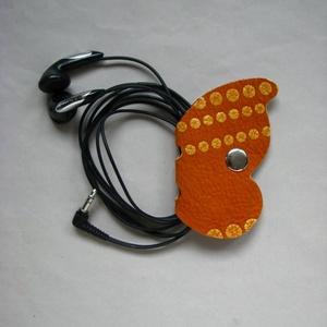 Pillangó fülhallgató, töltő, tartó bőr kábelrendező, Táska & Tok, Kábelrendező, Laptop & Tablettartó, Bőrművesség, Meska