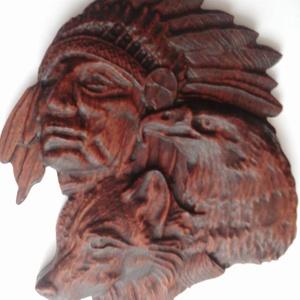 Indián- farkas- sas - faragás, Otthon & Lakás, Dekoráció, Táblakép, Famegmunkálás, Meska
