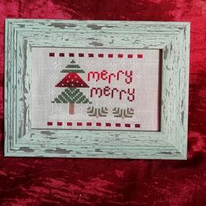 Karácsonyi mintás keresztszemes hímzés - fenyővel (Diana3021) - Meska.hu