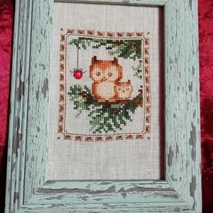 Karácsonyi mintás keresztszemes hímzés - baglyokkal (Diana3021) - Meska.hu