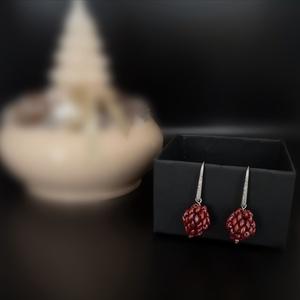 Bogyó II. - Cherry Gyöngyfűzött fülbevaló, Ékszer, Fülbevaló, Lógó fülbevaló, Ékszerkészítés, Gyöngyfűzés, gyöngyhímzés, Meska
