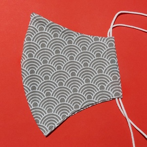 Szürke japán mintás maszk merevítővel vagy anélkül, Maszk, Arcmaszk, Női, Két réteg textilből készült fehér alapon szürke japán hullám mintás maszk.  A kosárba helyezésnél je..., Meska