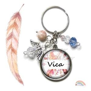 Névre szóló kulcstartó, neves ajándék, madaras, angyalkás kulcstartó, személyes ajándék, egyedi tervezés, , Fotó, grafika, rajz, illusztráció, Ékszerkészítés, Egyedi, névre szóló kulcstartó. \nKiváló ajándék szeretteidnek, barátaidnak. \nKérhető ezüst vagy bron..., Meska