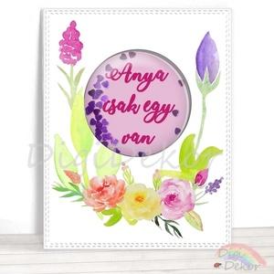 Anyák napi képeslap, shaker card anyának, virágos ajándékkísérő, akvarell stílusú kép, flitteres díszítés, anyák napja , Naptár, képeslap, album, Otthon & lakás, Képeslap, levélpapír, Ajándékkísérő, Fotó, grafika, rajz, illusztráció, Papírművészet, Saját szerkesztésű, kézzel készített, ún. shaker (rázható) képeslap. \nKiváló ajándékkísérő, vagy apr..., Meska