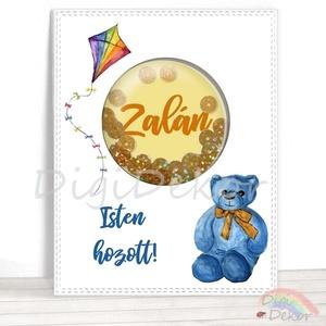 Teddy macis képeslap kisfiúknak, babaszületés, flitteres rázható képeslap, shaker card, mackós kisfiús kártya, Naptár, képeslap, album, Otthon & lakás, Képeslap, levélpapír, Ajándékkísérő, Gyerek & játék, Fotó, grafika, rajz, illusztráció, Papírművészet, Saját szerkesztésű, kézzel készített, ún. shaker (rázható) képeslap. \nKiváló ajándékkísérő, vagy apr..., Meska