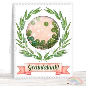 Gratuláció, gratuláló képeslap, olajág, ajándék ballagásra, diplomaosztóra, rázós képeslap, shaker kártya, zöld flitter , Naptár, képeslap, album, Otthon & lakás, Képeslap, levélpapír, Fotó, grafika, rajz, illusztráció, Papírművészet, Saját szerkesztésű, kézzel készített, ún. shaker (rázható) képeslap. \nKiváló ajándékkísérő, vagy apr..., Meska