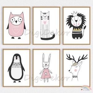 Állatok skandináv stílusban, vidám faliképek gyerekszobába, babaszoba dekoráció, bagoly, nyuszi, oroszlán, pingvin, Gyerek & játék, Gyerekszoba, Baba falikép, Otthon & lakás, Fotó, grafika, rajz, illusztráció, Skandináv stílusú faliképek gyerekeknek - minőségi printek, keret nélkül.  \nVicces, állatkás illuszt..., Meska