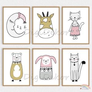 Skandináv stílusú állatos faliképek gyerekszobába, babaszoba dekoráció, zsiráf, maci, cica, hold, szép álmokat , Gyerek & játék, Gyerekszoba, Baba falikép, Otthon & lakás, Fotó, grafika, rajz, illusztráció, Skandináv stílusú faliképek gyerekeknek - minőségi printek, keret nélkül.  \nVicces, állatkás illuszt..., Meska