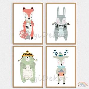 Skandináv stílusú karácsonyi faliképek, gyerekszoba dekoráció, téli állatok, róka, nyuszi, medve, szarvas, A4-es falikép, Gyerek & játék, Gyerekszoba, Baba falikép, Otthon & lakás, Lakberendezés, Falikép, Fotó, grafika, rajz, illusztráció, Skandináv stílusú állatos faliképek gyerekeknek - minőségi printek, keret nélkül.  \nVidám illusztrác..., Meska