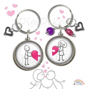Páros kulcstartó, puzzle kulcstartók pároknak, szerelmeseknek, páros ékszer, Valentin-napi ajándék, összeillő szívek, , Fotó, grafika, rajz, illusztráció, Ékszerkészítés, Szív-puzzle. Páros kulcstartó szerelmeseknek.\n\nAz ár 2 db kulcstartóra vonatkozik.\n\nA kulcstartó any..., Meska