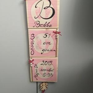 Lányos neves baba tábla, Betű & Név, Dekoráció, Otthon & Lakás, Festett tárgyak, \nEgyedi ,kézzel készített ,3 részes fa tábla ,ami tartalmazza a baba születési adatait. 3 db egyform..., Meska