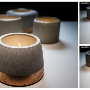 Design beton mécsestartó, Otthon & lakás, Dekoráció, Lakberendezés, Gyertya, mécses, gyertyatartó, Egyedi, kézzel készített beton mécsestartó. Üveg belső. Több forma. Válassz hozzád illőt :) Teamécse..., Meska