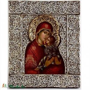 Szent Anna ikon , Lakberendezés, Otthon & lakás, Dekoráció, Képzőművészet, Szobor, Festészet, Szobrászat, Fa alapon olajfestés:Szent Anna kezében a gyermek Máriával, egész hátteret beborító ezüstözött dombo..., Meska